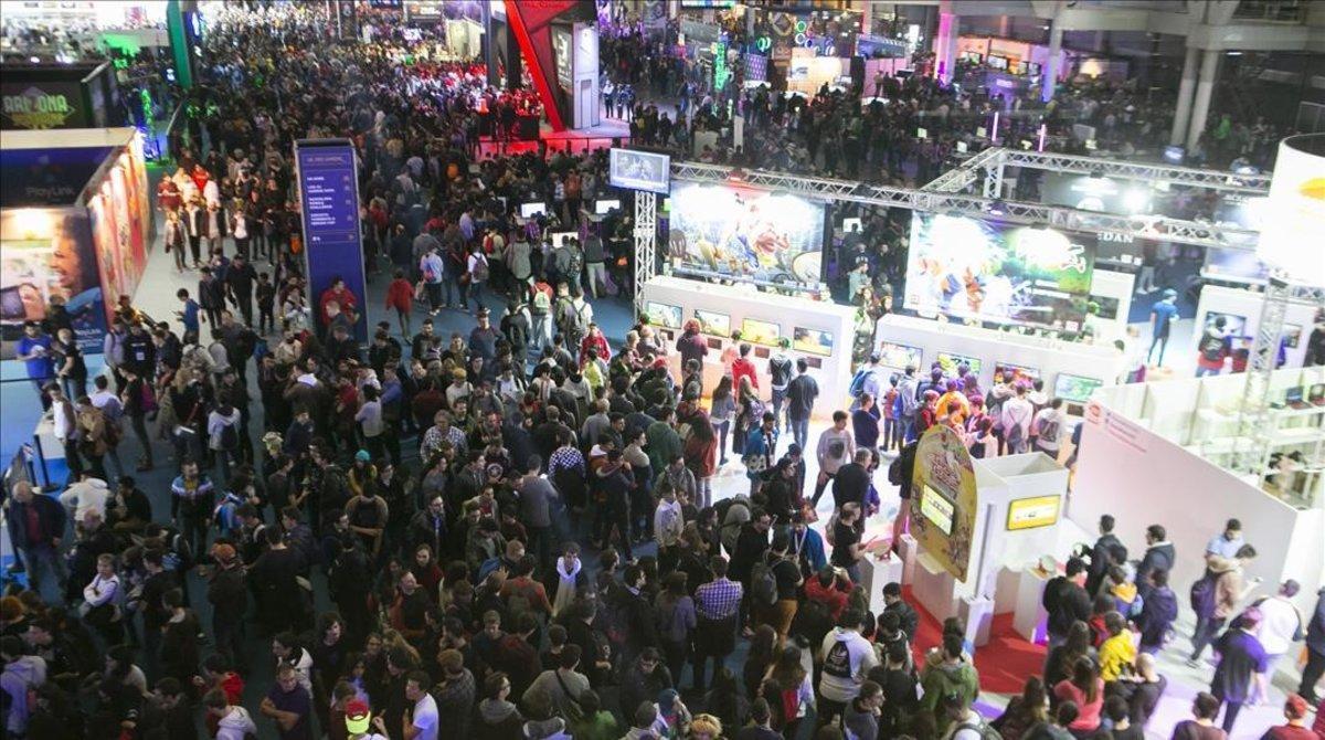 Imagen aérea de la feria Barcelona Games World, el pasado sábado.