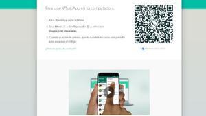 Pantalla con el QR para conectarte a Whatsapp web.