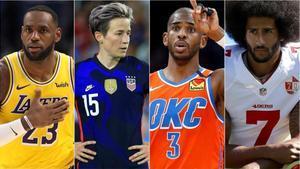 Lebron James, Megan Rapinoe, Chris Paul y Colin Kapernick, cuatro deportistas cuyas voces ejercenliderazgo social