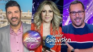 Tony Aguilar, Eva Mora y Víctor Escudero, comentaristas de Eurovision Junior 2020 en TVE.