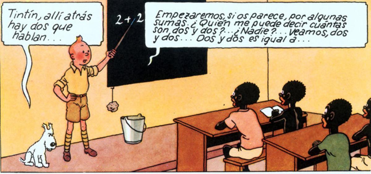 Una de las viñetas polémicas de 'Tintín en el Congo'.