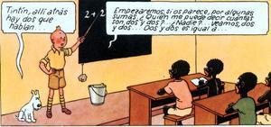 Una de les vinyetes polèmiques de 'Tintín al Congo'.
