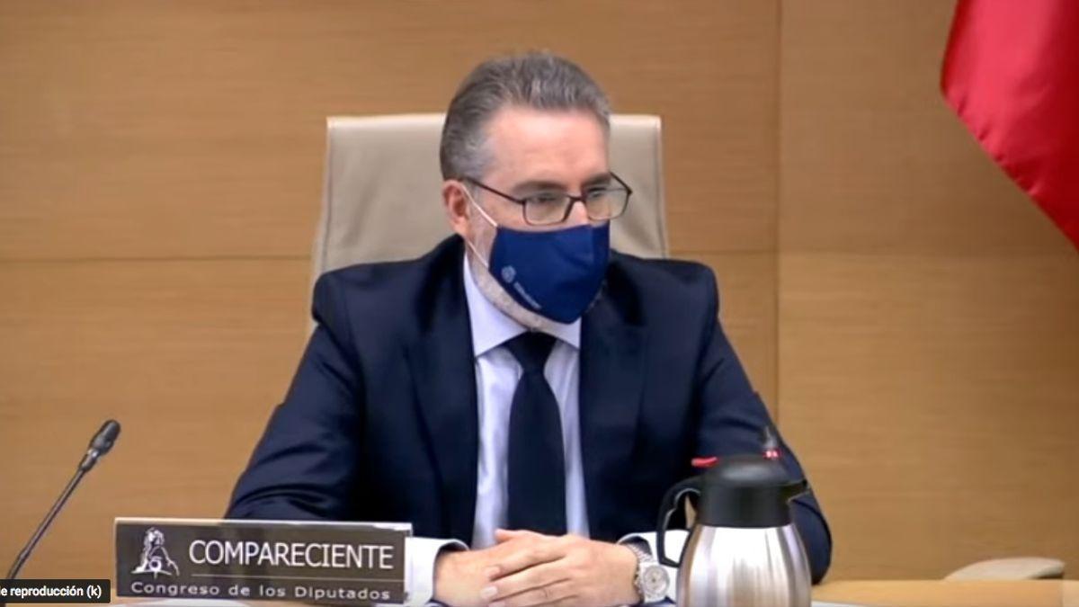 El comisario general de Información de la Policía, Eugenio Pereiro, durante su comparecencia en la comisión Kitchen del Congreso.