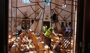 Daños en la iglesia de San Sebastian tras elatentado en Sri Lanka. EFE