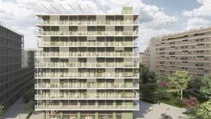 Imagen creada por ordenador del edificio de Sant Martí del programa Allotjaments de Proximitat Provisionals (Aprop) del ayuntamiento.