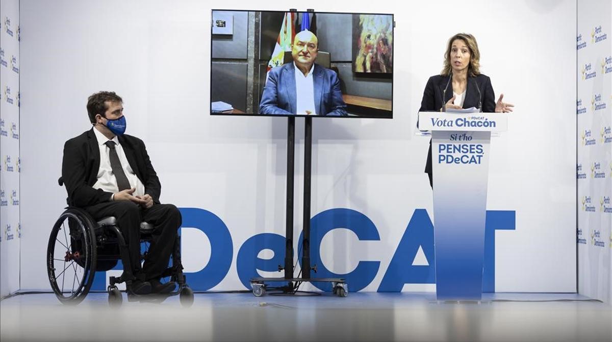 La candidata del PDeCAT, Àngels Chacon, el presidente del partido, David Bonvehí, y el presidente de EAJ-PNV, Andoni Ortuzar.
