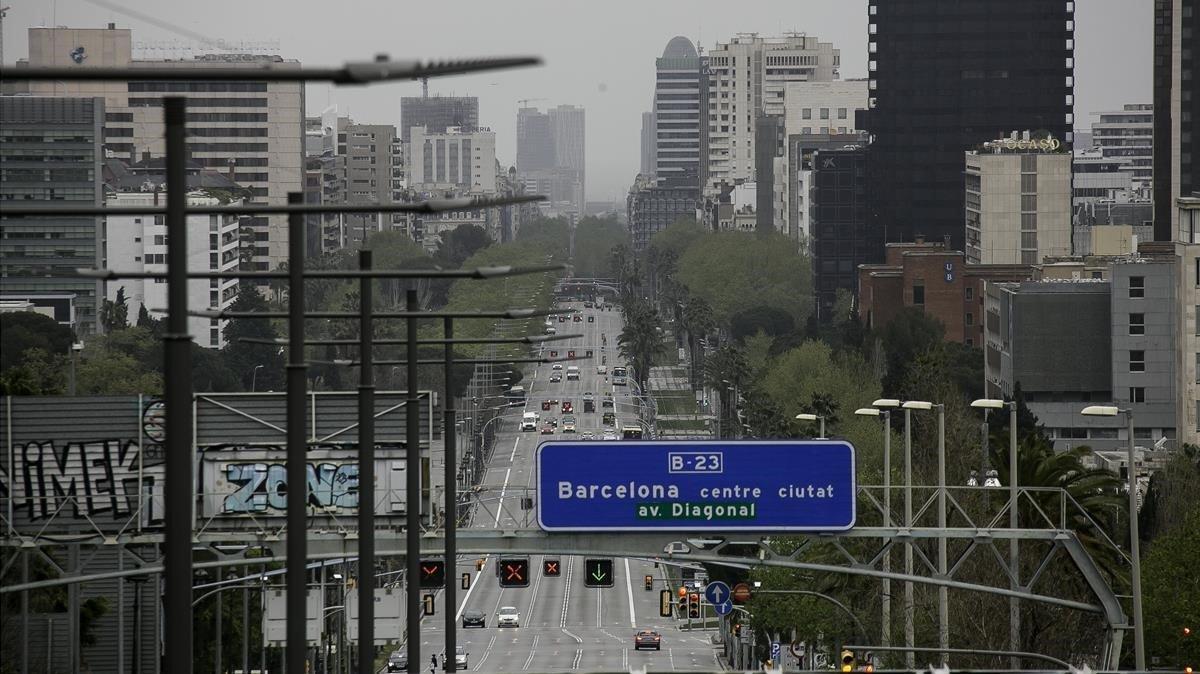 Vista de la AvingudaDiagonal a las 9.00am