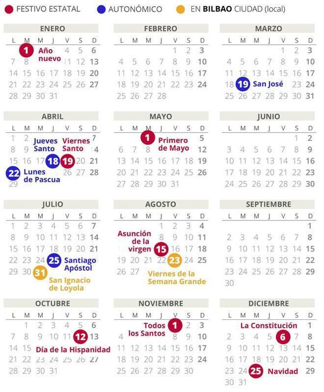 Calendario laboral de Bilbao del 2019 (con todos los festivos)