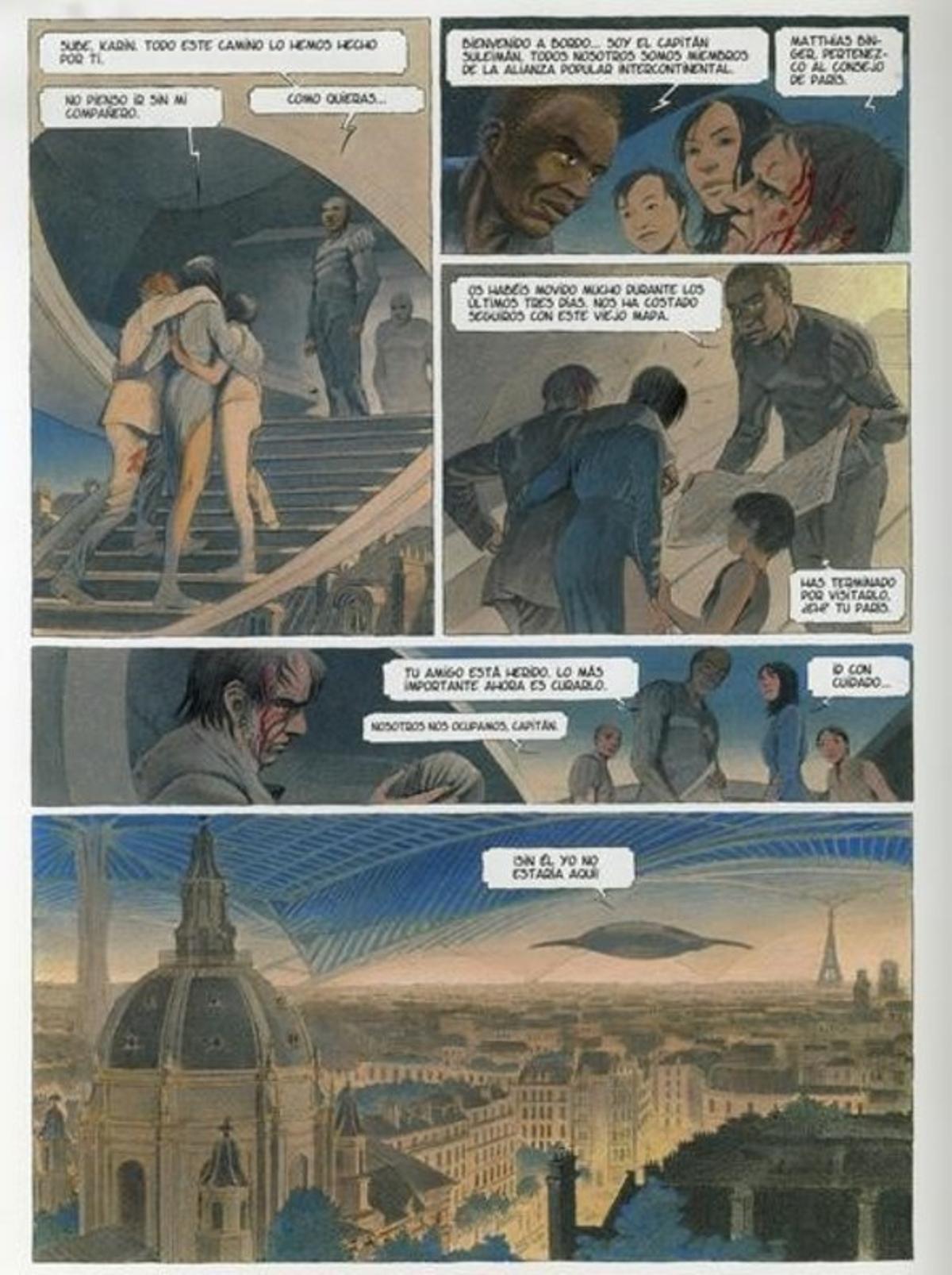 Página de 'Volver a París. La noche de las constelaciones', de Peeters y Schuiten.