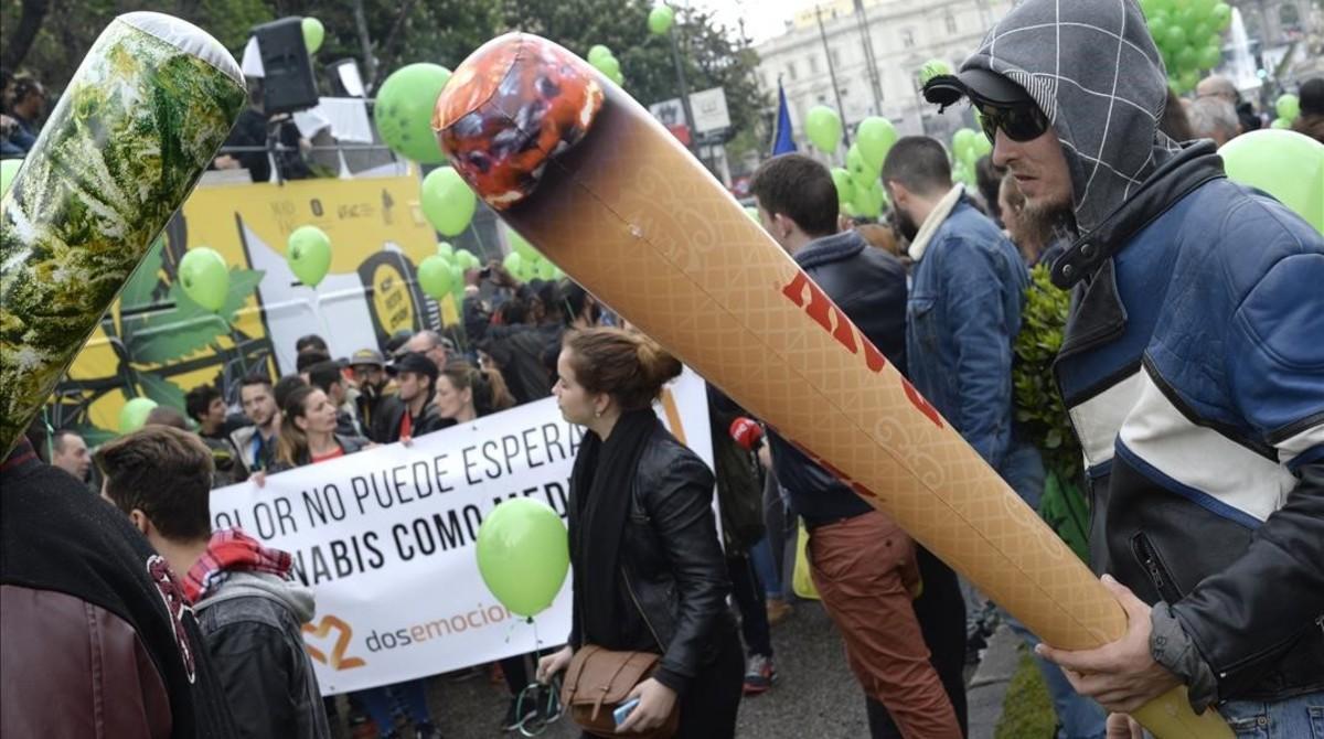 Manifestación por la legalización de la marihuana en Madrid, el pasado mes de mayo.
