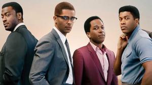 Una imagen promocional de 'One night in Miami': de izquierda a derecha, los personajes de Jim Brown, Malcolm X, Sam Cooke y Cassius Clay.
