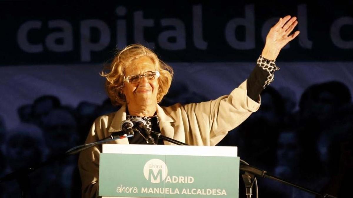 Manuela Carmena, durante la noche electoral de las elecciones municipales del 2015.