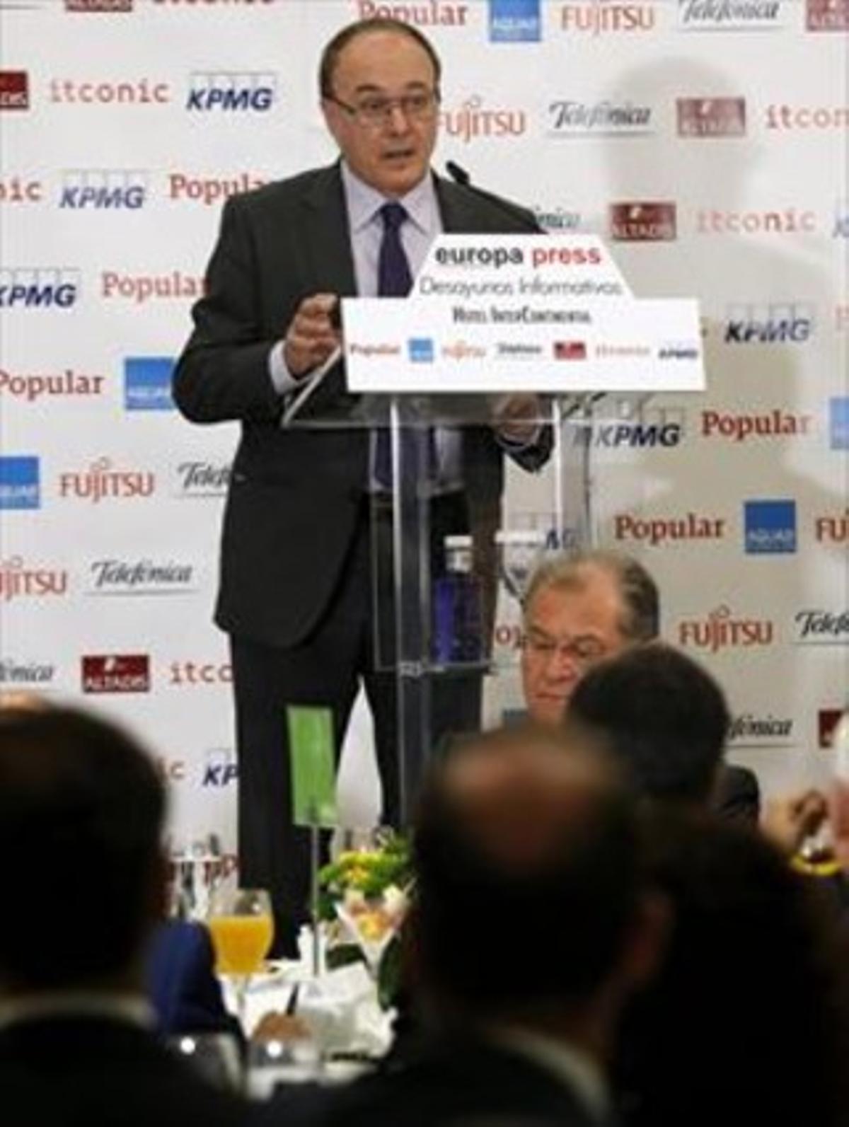 El gobernador del Banco de España, Luis María Linde,este lunesen Madrid.