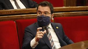 Pere Aragonés, en el Parlament