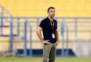 Xavi, durante el partido.