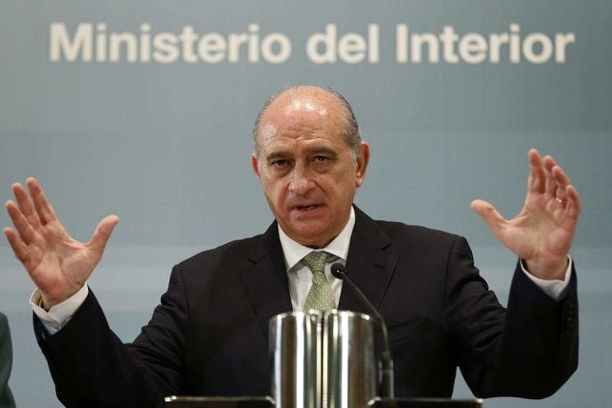 El ministro del Interior,Jorge Fernández Díaz,duranteuna rueda de prensa.