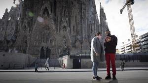 La Sagrada Família, casi desierta de turistas en época de pandemia.