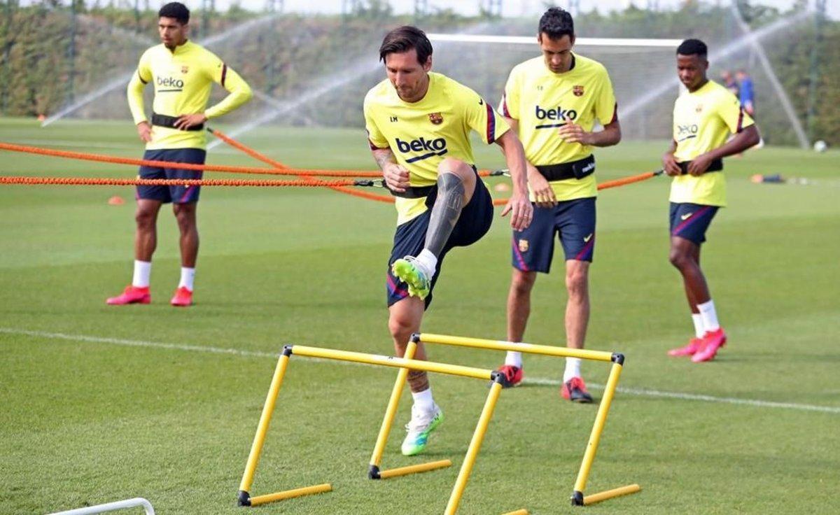 Messi, en un entrenamiento a principios de semana.