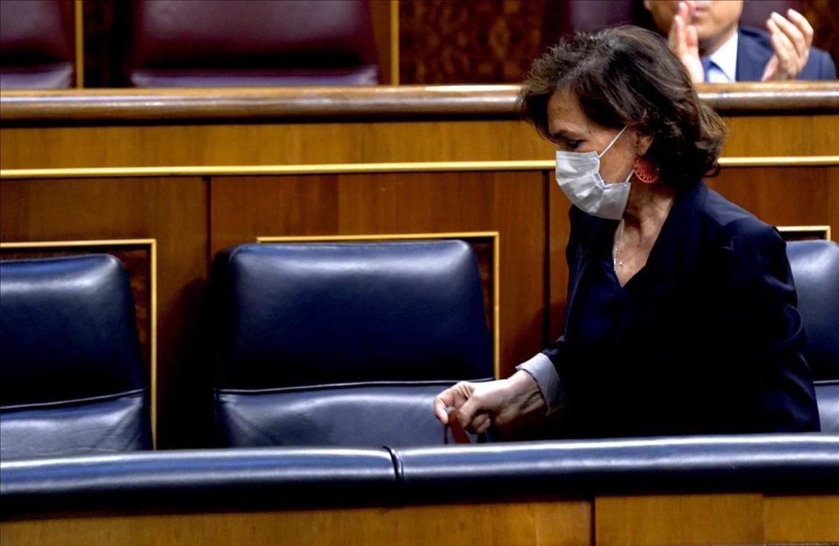 Sesión de Control al Gobierno esta mañana en el Congreso de los Diputados ,en la imagen la vicepresidenta segunda del GobiernoCarmen Calvo.