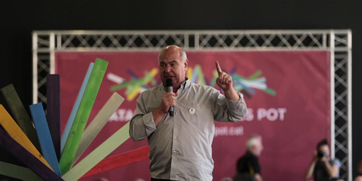 Rabell, durante la presentación del programa electoral de Catalunya Sí que es Pot, en el centro cívico Fabra i Coats.