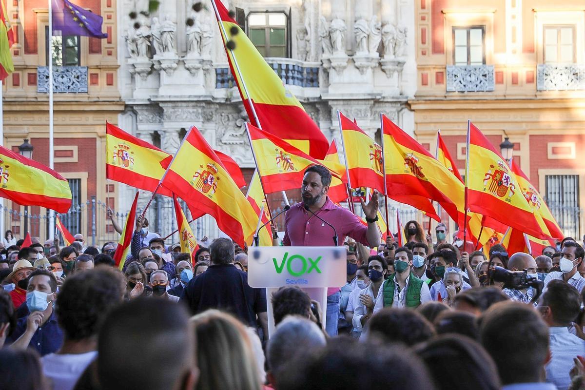 El líder de Vox, Santiago Abascal, en un mitin este fin de semana en Sevilla