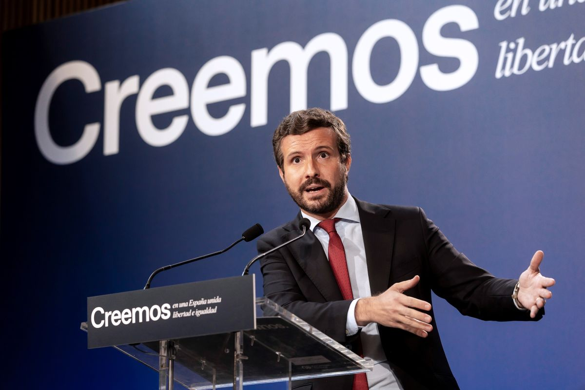 El líder del PP, Pablo Casado, durante su intervención en la mesa redonda 'Unidad nacional y Estado autonómico frente al nacionalismo', el pasado 31 de agosto de 2021 en Barcelona.