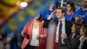 El presidente del PP, Pablo Casado, en un acto de partido en València