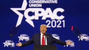 El expresidente Donald Trump en el acto de este domingo de los conservadores en Orlando, Florida.