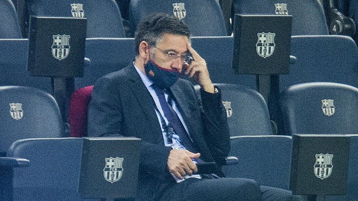 Bartomeu, en el palco del Camp Nou.