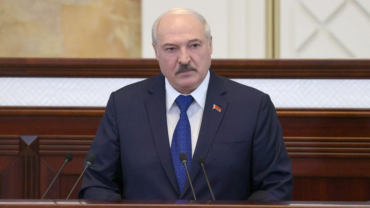 Alxander Lukashenko, presidente de Bielorrusia, en su comparecencia frente al Parlamento el 26 de mayo del 2021.