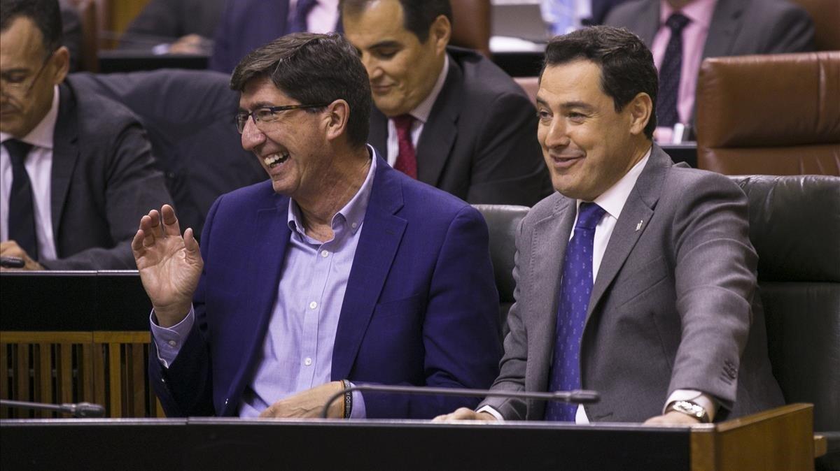 El presidente andaluz, Juanma Moreno (PP), y el vicepresidente, Juan Marín (Cs)