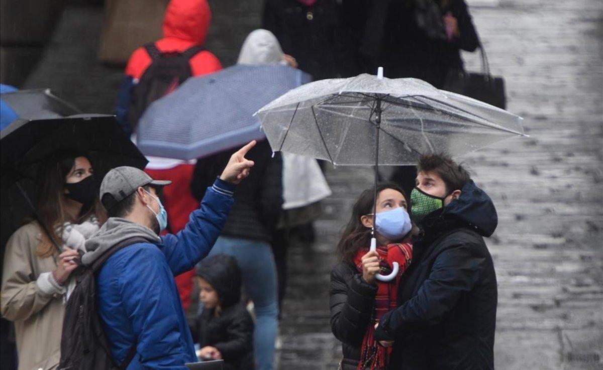 Día lluvioso en Barcelona.