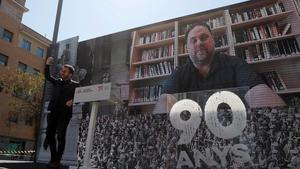 Pere Aragonès y Oriol Junqueras, en videoconferencia desde la prisión, durante el acto de celebración del 90º aniversario de la fundación de ERC.
