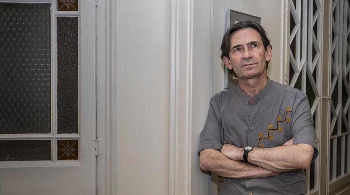 El guionista de cómic y biógrafo de Hergé Benoît Peeters, durante su visita a Barcelona.