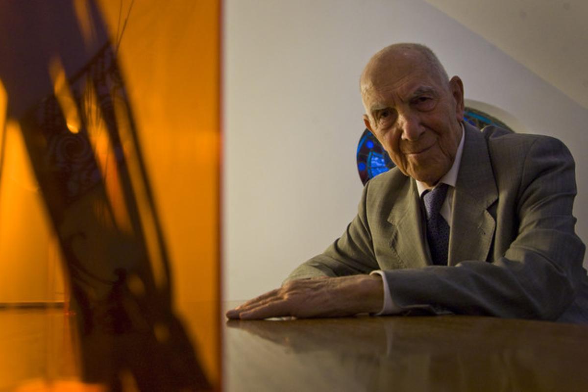 Stéphane Hessel, durante una entrevista para 'Dominical', en Madrid.