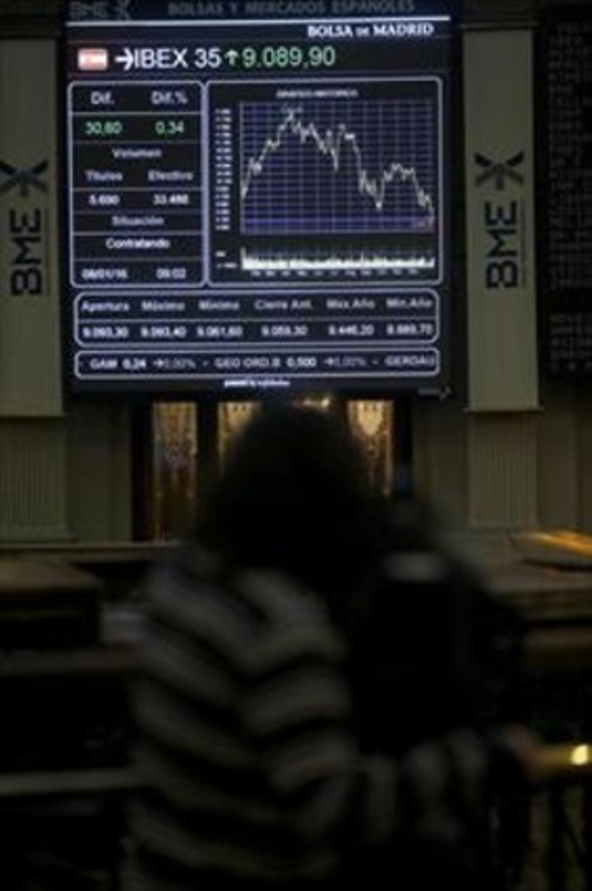 Panel informativo de la Bolsa de Madrid que muestra la evolución del Ibex 35.
