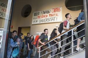 Estudiantes de la UdL, durante la protesta el pasado miércoles.