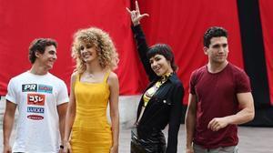 Miguel Herrán, Esther Acebo, Úrsula Corberó y Jaime Lorente, en la presentación de la tercera temporada de 'La casa de papel' en Italia, en julio.