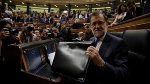 Mariano Rajoy, el pasado martes, antes de pronunciar su discurso de investidura.
