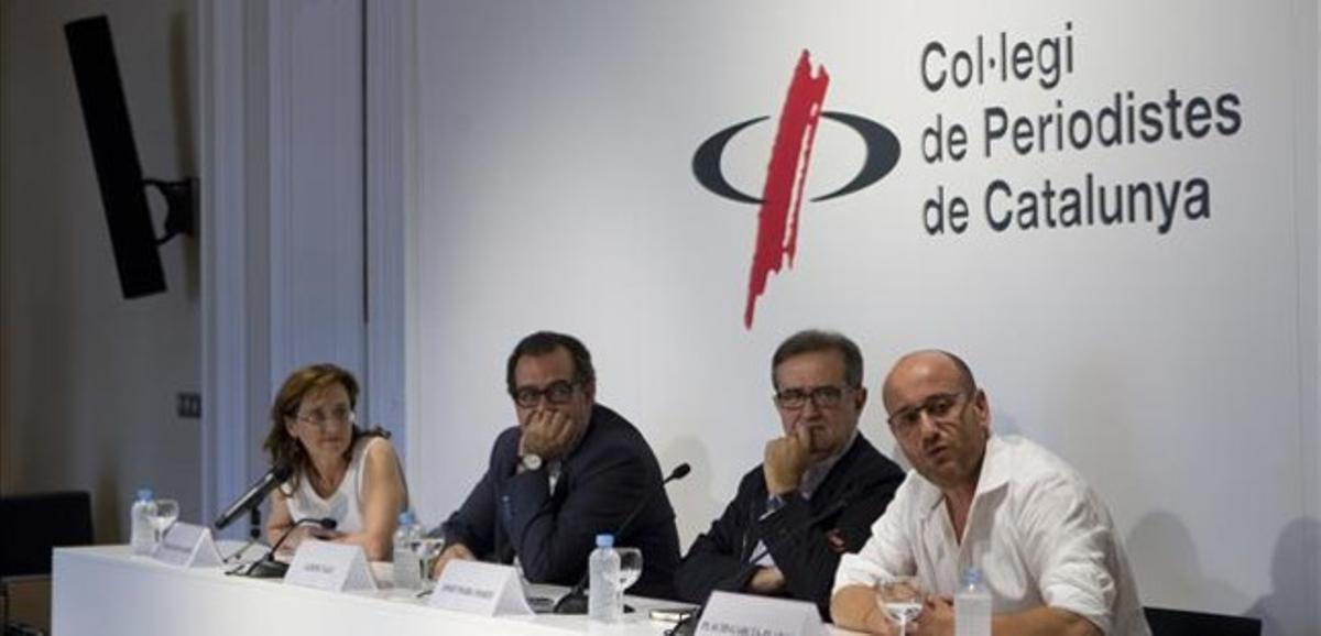 De izquierda a derecha: Maria Alba Gilabert, Albert Sàez, Josep Maria Martí y Plàcid Garcia-Planas, este miércoles en Barcelona.