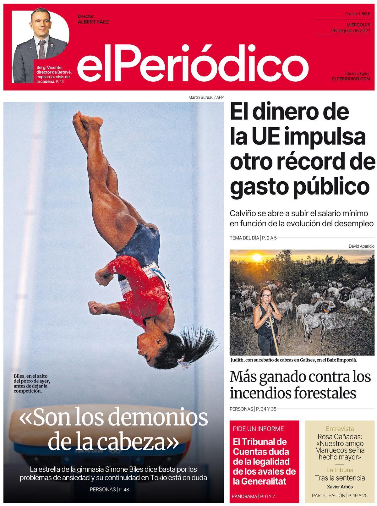 La portada de EL PERIÓDICO del 28 de julio de 2021