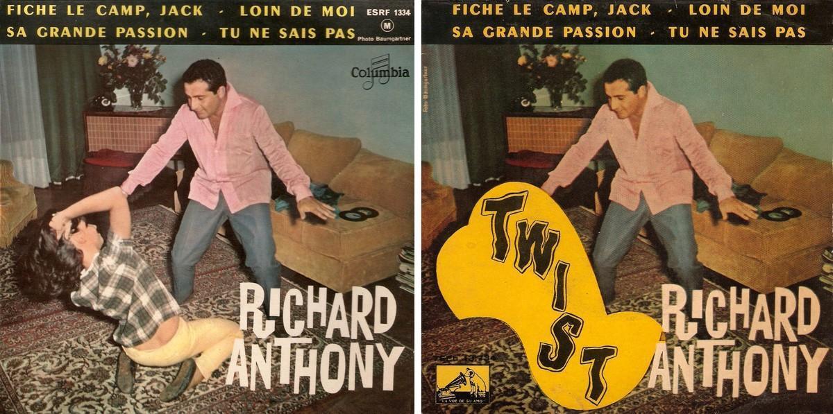 En la portada española, la chica que baila con Richard Anthony es engullida por un extraño ectoplasma.