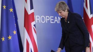 La primera ministra británicaTheresa May en el Consejo Europeo en Bruselas.
