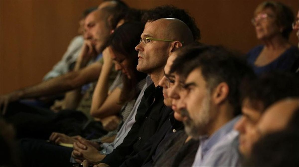 Raül Romeva, este jueves, en la conferencia política de la CUP.