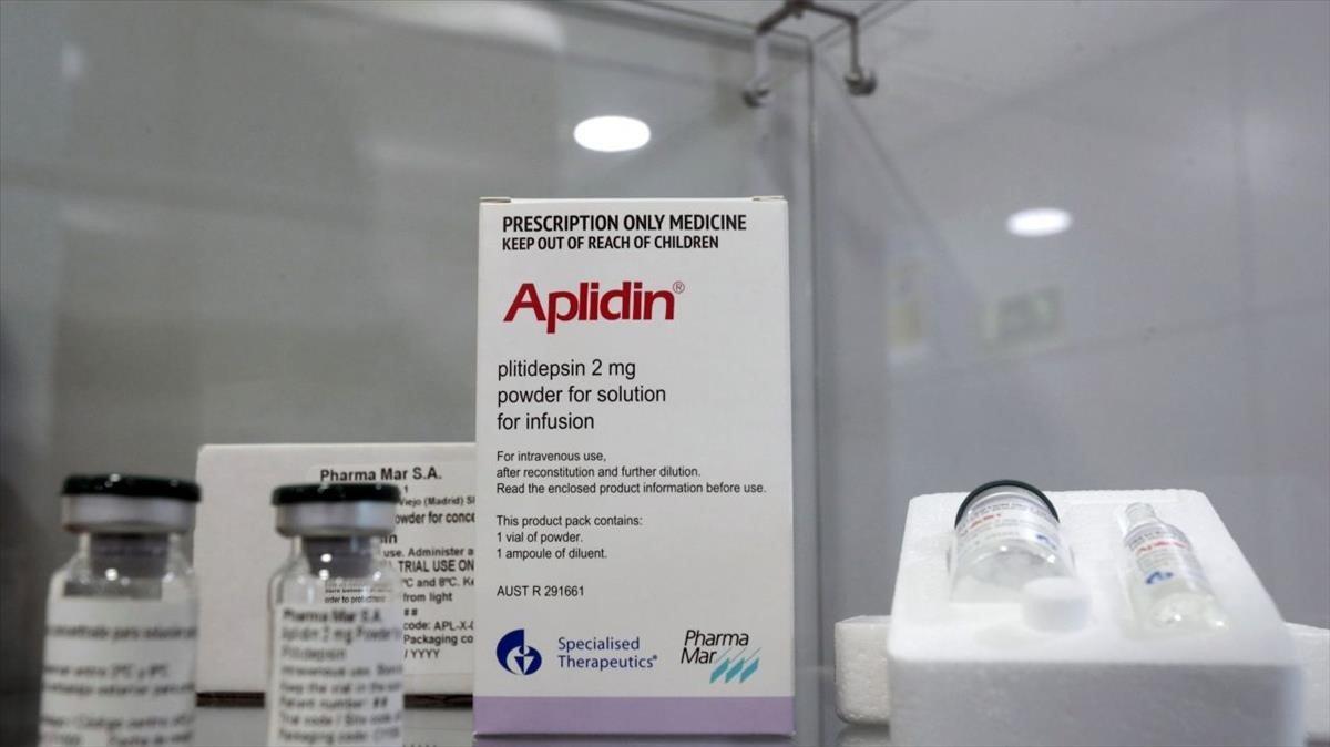 Caja del medicamento Aplidin, de la empresa biotecnológica Pharmamar.