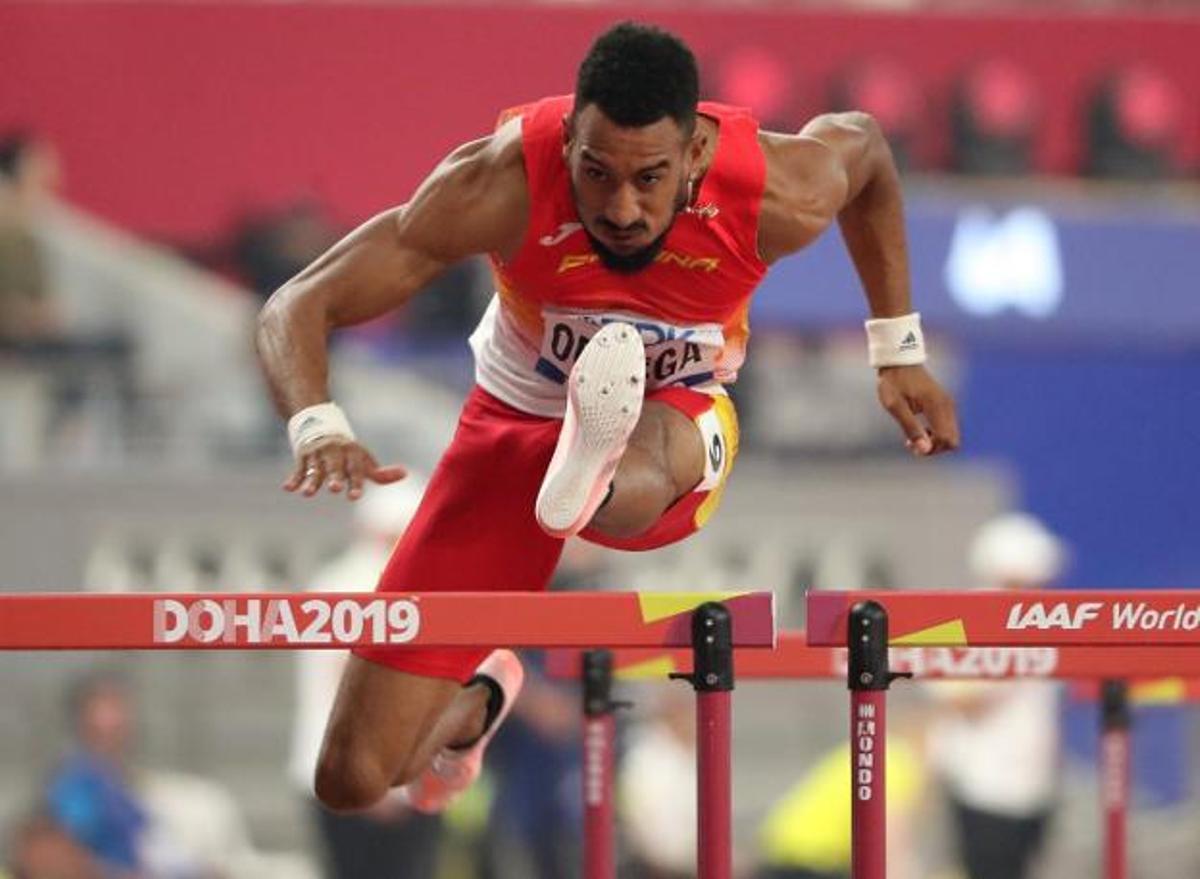 Orlando Ortega, en el 110 metros vallas de Doha 2019.