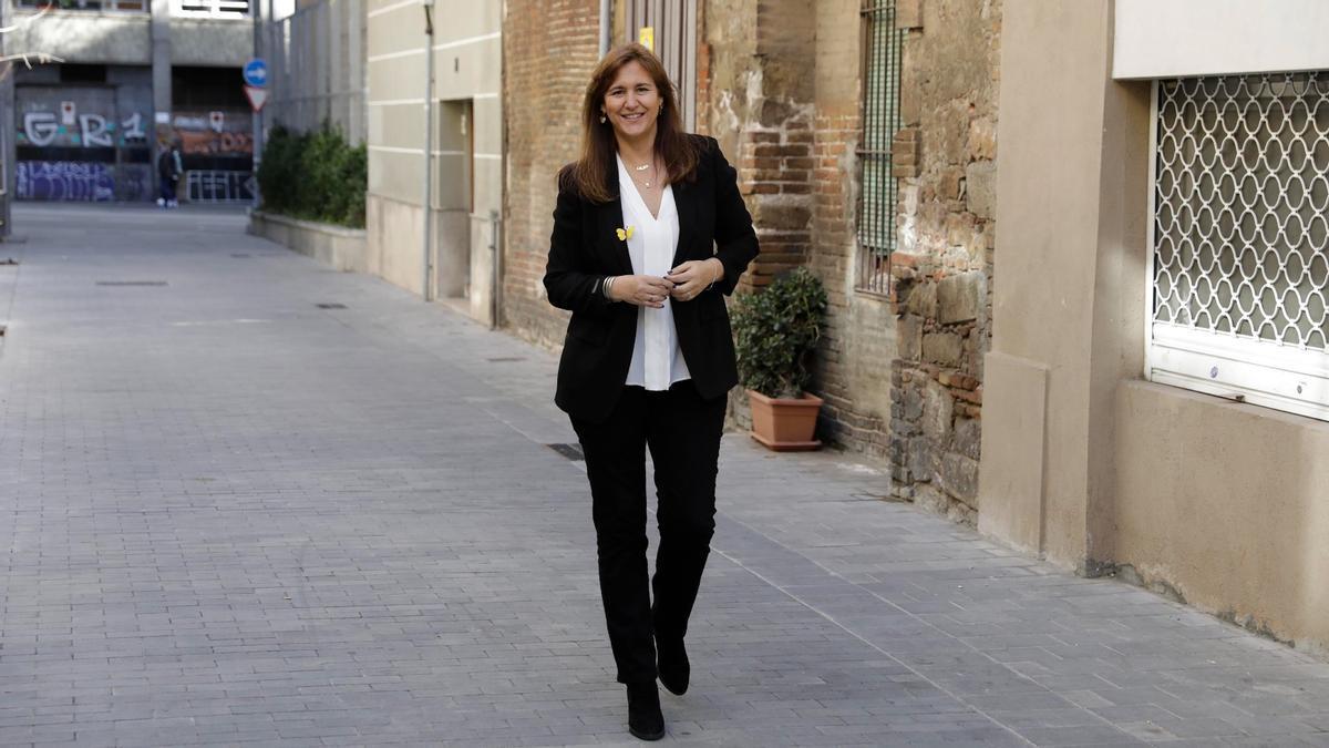 Laura Borràs, candidata de JxCat a la presidencia de la Generalitat, este viernes.