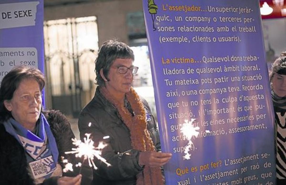 Protesta contra la violencia de género en la plaza de Sant Jaume, en noviembre.