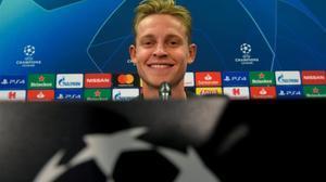 Frenkie de Jong, en la rueda de prensa previa al partido ante el Borussia Dortmund.