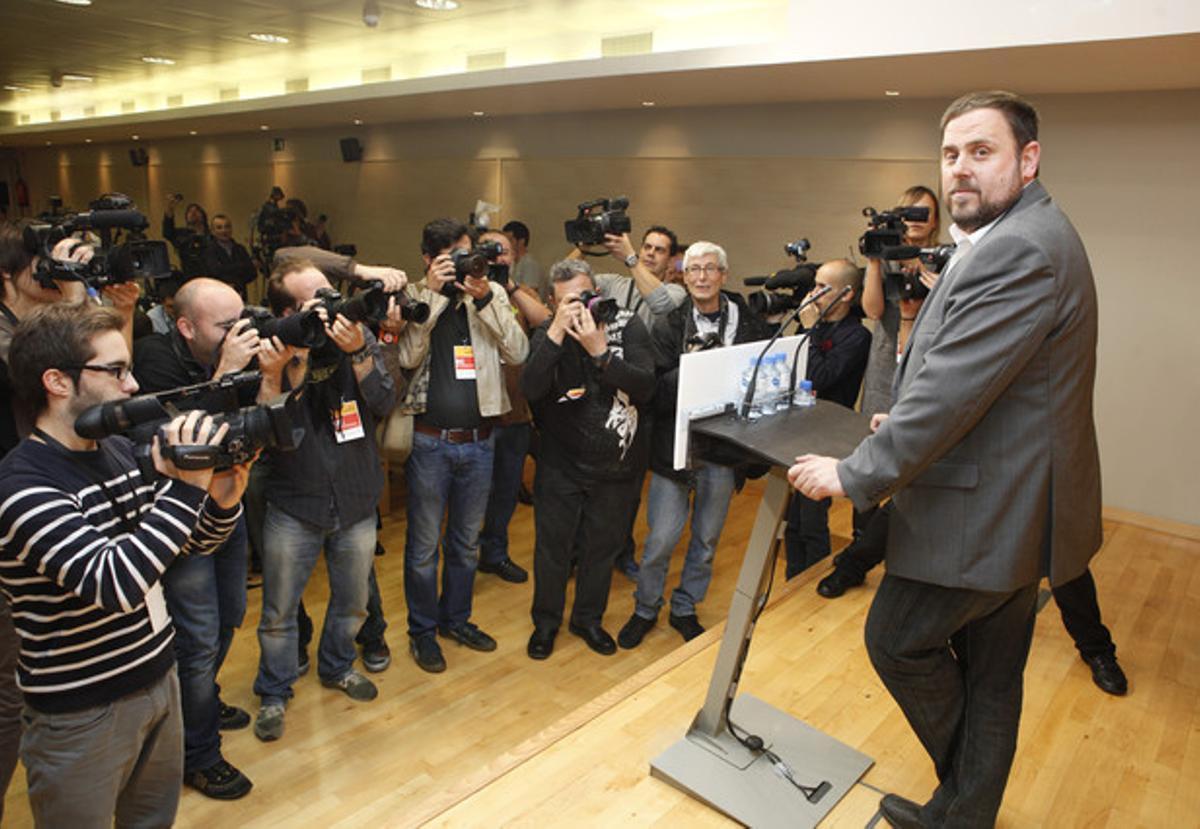 Oriol Junqueras, en la sede de ERC, el lunes.
